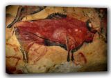 Cave Painting of a Bison in the Cave of Altamira, Spain. Prehistoric Art Canvas. Sizes: A3/A2/A1. (00619)